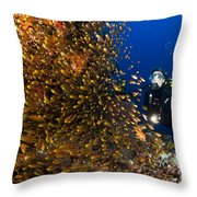 Coral Reef And Diver  Throw Pillow