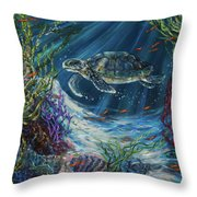 Coral Reef Turtle Throw Pillow