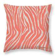 coral Zebra 3 Throw Pillow