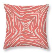 Coral Zebra Throw Pillow