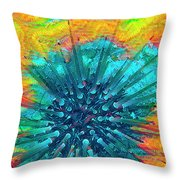 Corals Under The Sea Color Burst Throw Pillow
