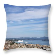 Corfu Town And Port With Cruiser Cityscape Throw Pillow