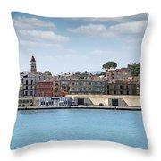 Corfu Town Port With Warehouses Throw Pillow