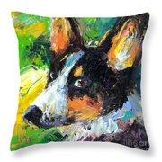 Corgi Dog Portrait Throw Pillow