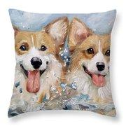 Corgi Splash Throw Pillow
