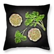 Coriander And Garlic Still Life. Throw Pillow