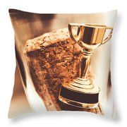 Cork And Trophy Floating In Champagne Flute Throw Pillow