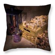 Cork Basket Candle Lamp Throw Pillow