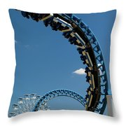 Cork-screw Rollercoaster And Ferris-wheel Throw Pillow