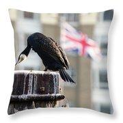 Cormorant Adult Phalacrocorax Carbo Throw Pillow