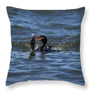 Cormorant Catching A Porgy Throw Pillow