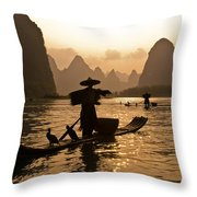 Cormorant Fisherman At Sunset Throw Pillow