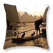 Cormorant Fishermen At Sunset Throw Pillow