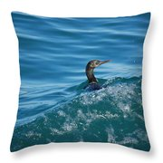 Cormorant In The Water Throw Pillow