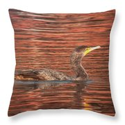 Cormorant On Autumn Red Throw Pillow