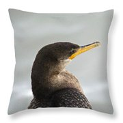Cormorant Posing Throw Pillow