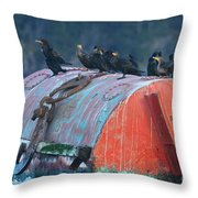 Cormorants On A Barrel Throw Pillow