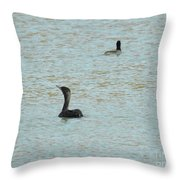 Cormorants On The Lake Throw Pillow