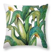 Corn And Stalk Throw Pillow