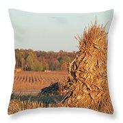 Corn At Harvest Throw Pillow