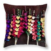 Corn Husk Flowers Throw Pillow
