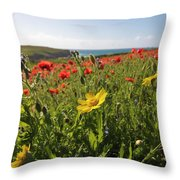 Corn Marigold And Poppies Throw Pillow