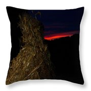 Corn Shock At Setting Sun Throw Pillow