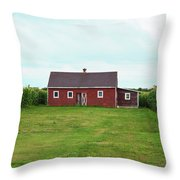 Red Barn In Field Throw Pillow