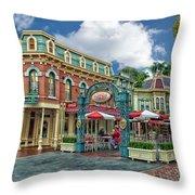 Corner Cafe Main Street Disneyland 01 Throw Pillow