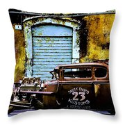 Corner Garage Throw Pillow