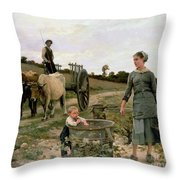 Corner Of A Vineyard Throw Pillow by Edouard Debat Ponsan