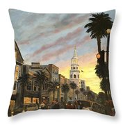 Corner Of Church And Broad Throw Pillow