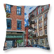 Corner Of Dietz And Main Oneonta Ny Throw Pillow