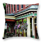 Corner Restaurant With Hanging Plants Throw Pillow