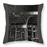 Corner Table - Black And White Throw Pillow
