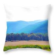 Cornfield On Bright Autumn Day 3 Throw Pillow