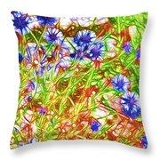 Cornfield With Cornflowers Throw Pillow
