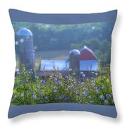 Cornflower And Barn Throw Pillow