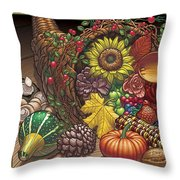 Cornucopia Overflowing Throw Pillow