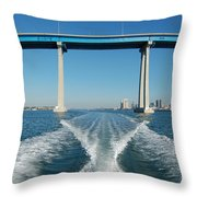 Coronado Bridge Wake Throw Pillow