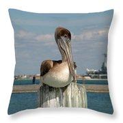 Corpus Christi Pelican Throw Pillow