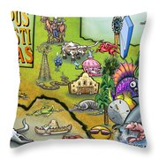 Corpus Christi Texas Cartoon Map Throw Pillow