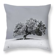 Corral Hollow Tree In Snow Throw Pillow