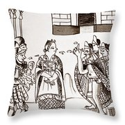 Cortes & Montezuma, 1519 Throw Pillow
