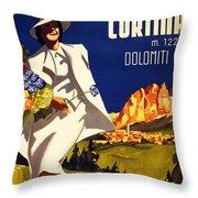 Cortina Dolomiti Italy Vintage Poster Restored Throw Pillow