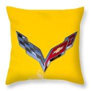 Corvette Emblem On Yellow Throw Pillow