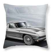 Corvette Sting Ray 1963 Silver Throw Pillow by Etienne Carignan