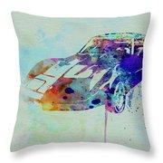 Corvette Watercolor Throw Pillow by Naxart Studio