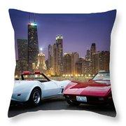 Corvettes In Chicago Throw Pillow