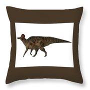 Corythosaurus On White Throw Pillow